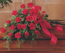 Red Rose Tribute Casket Spray</div