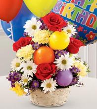 Birthday Cheer Basket & Balloons