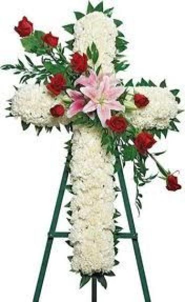 Cross with rose & lily spray
