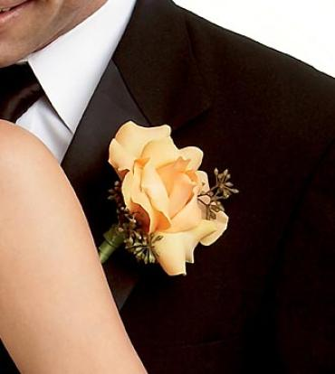 Peach Waterfall Boutonniere