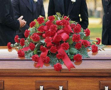 Red Regards Casket Spray</div